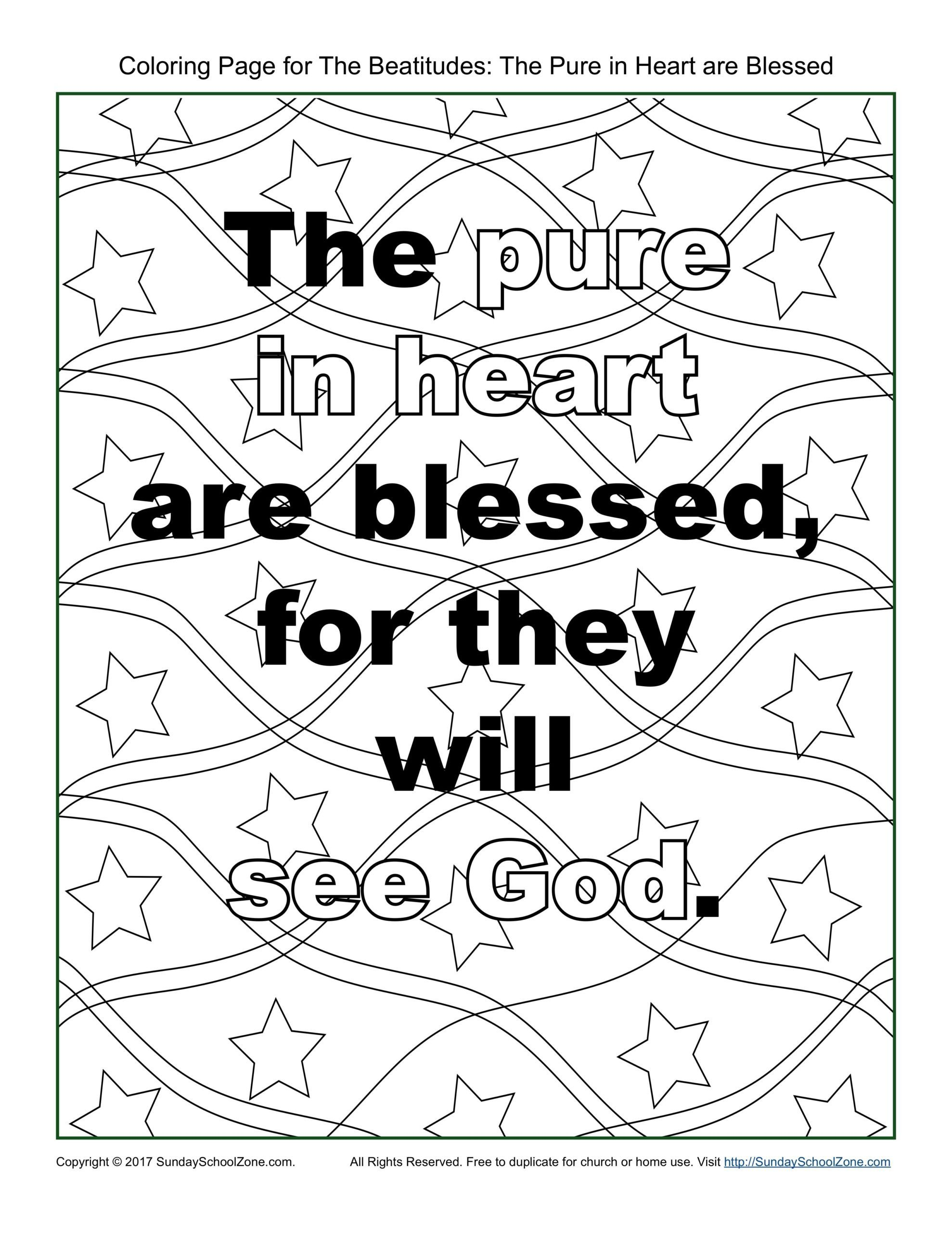 Timeline Worksheets for Middle School Pure In Heart Beatitudes Coloring Sunday School Zone Free