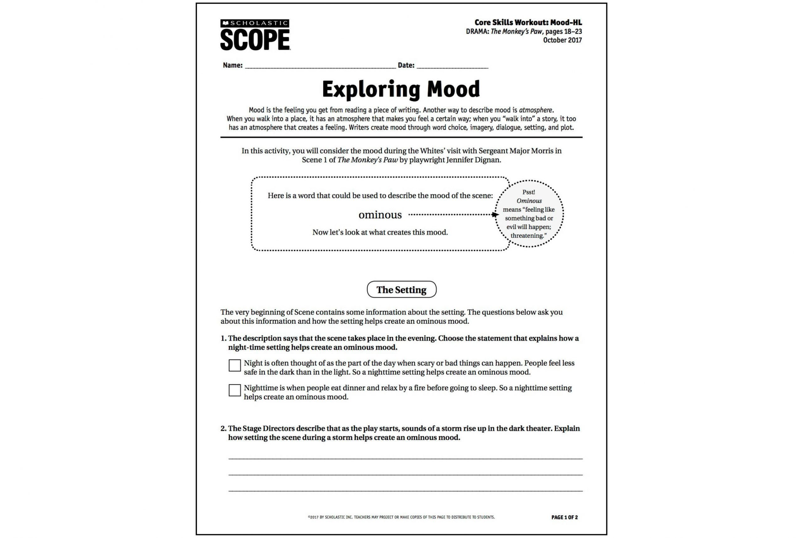 Tone and Mood Worksheet Pdf Teaching Mood You Need This Video now