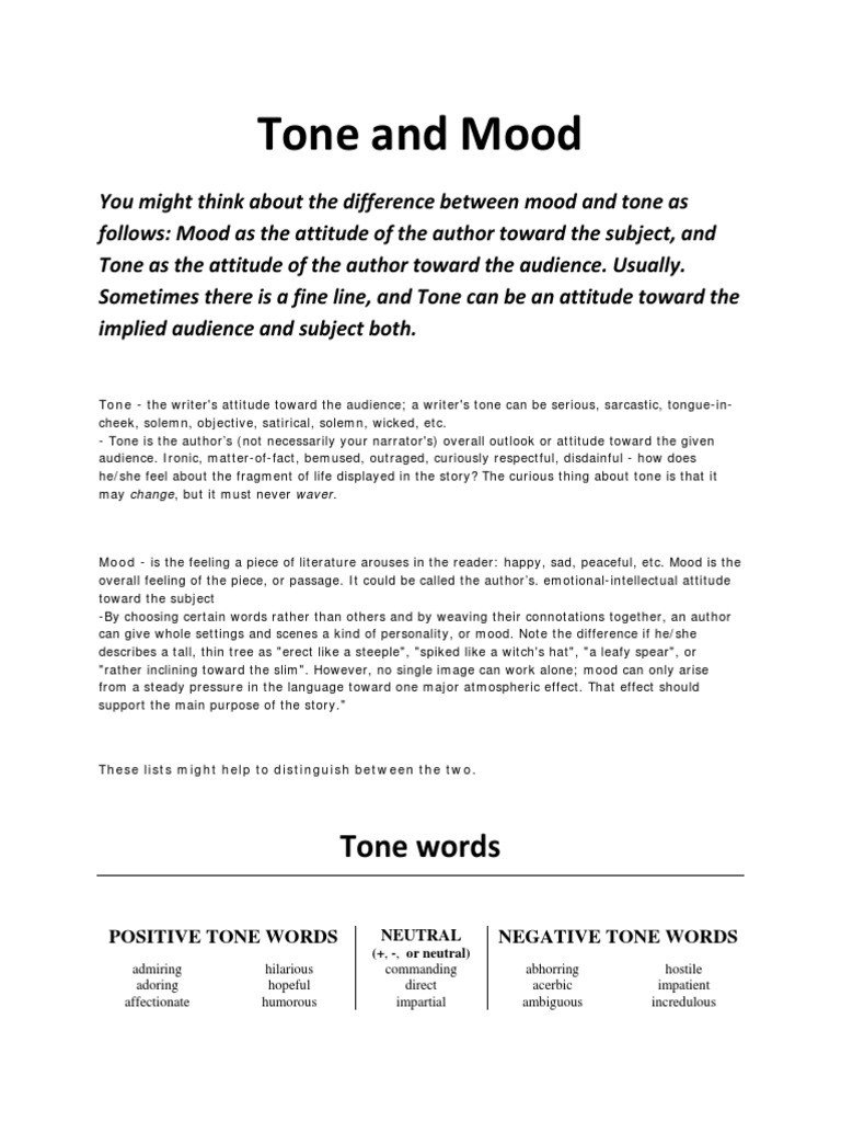 Tone and Mood Worksheet Pdf tone and Mood Words