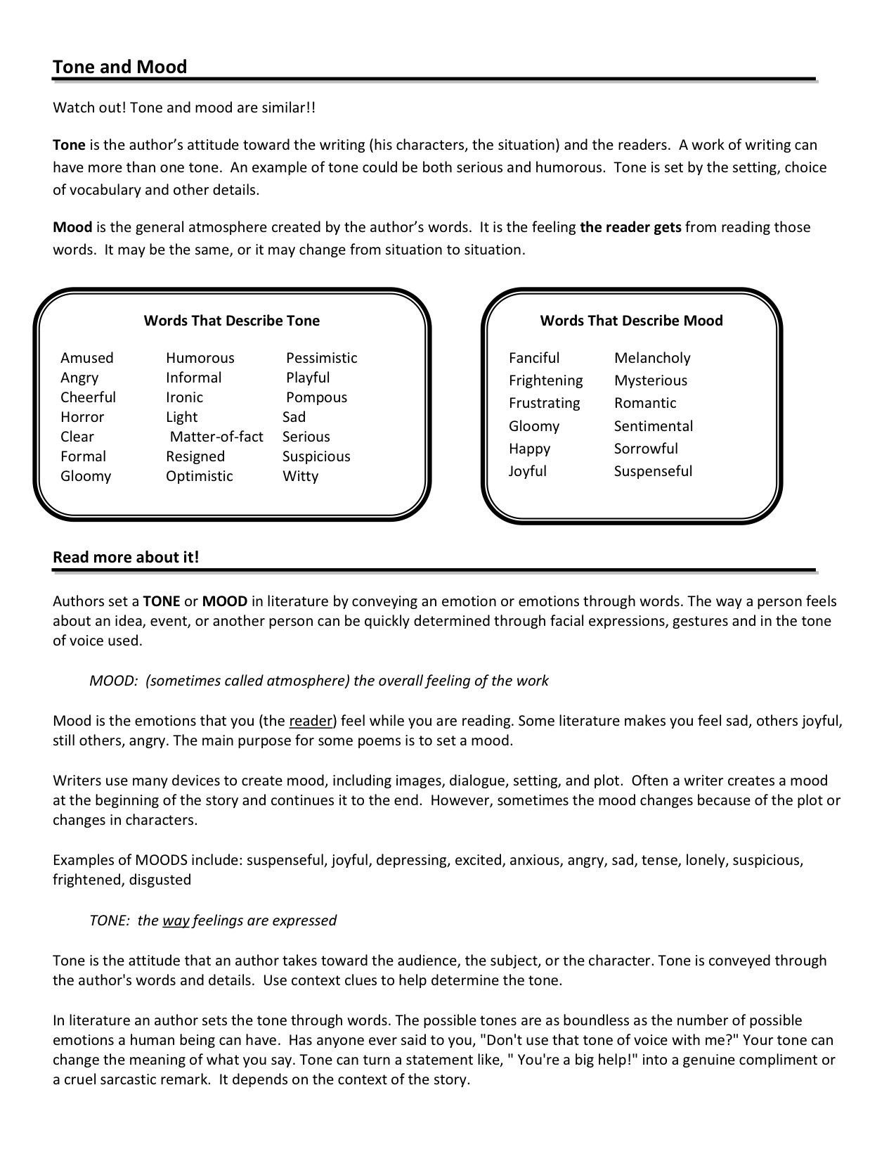Tone and Mood Worksheet Pdf tone and Mood Worksheets Google Search