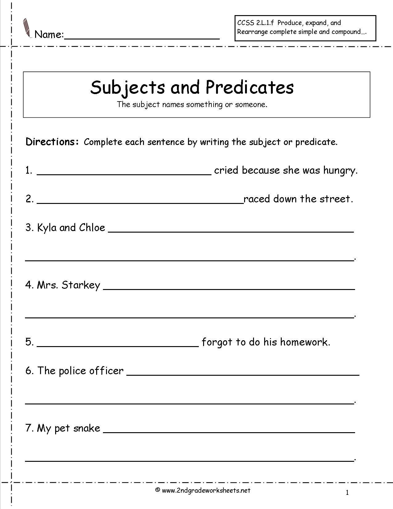 Topic Sentence Worksheets 2nd Grade Subject and Predicate Worksheet