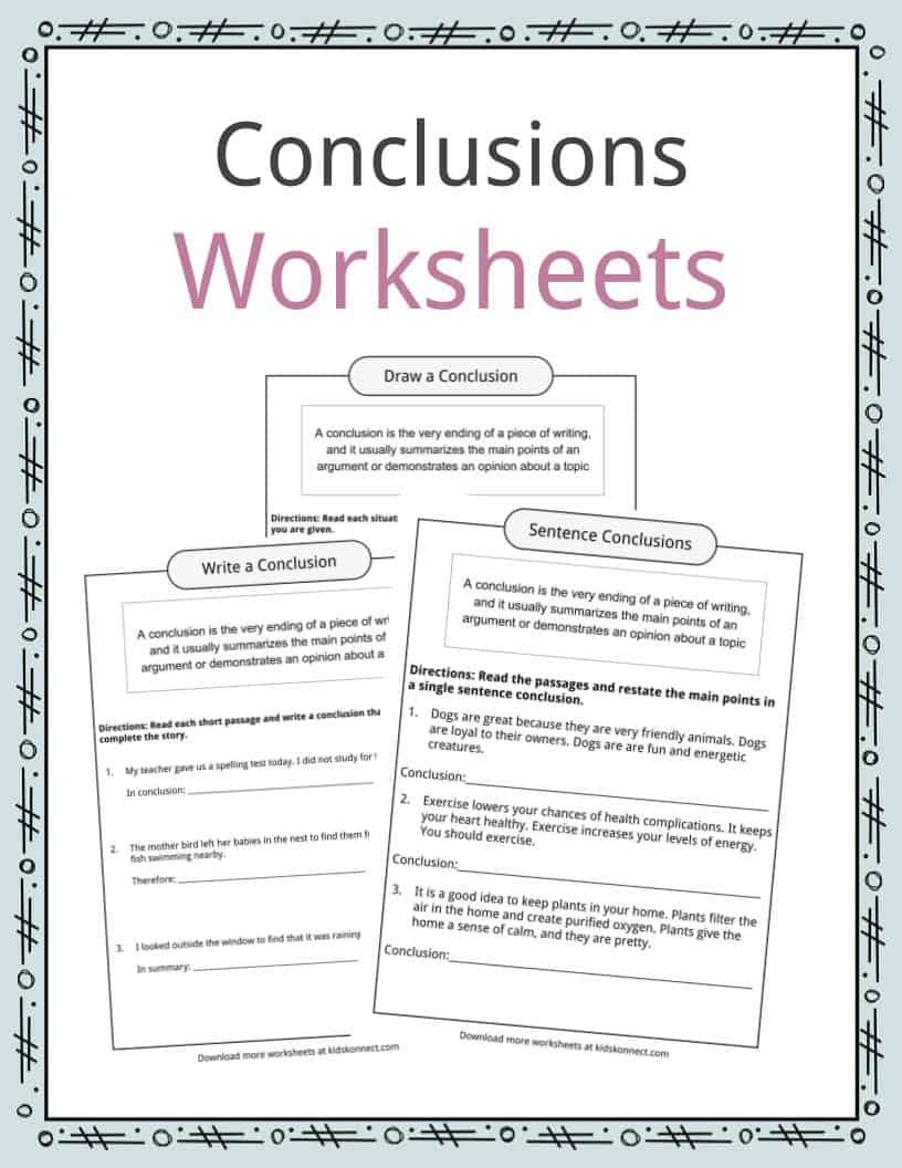 Conclusions Worksheets 3