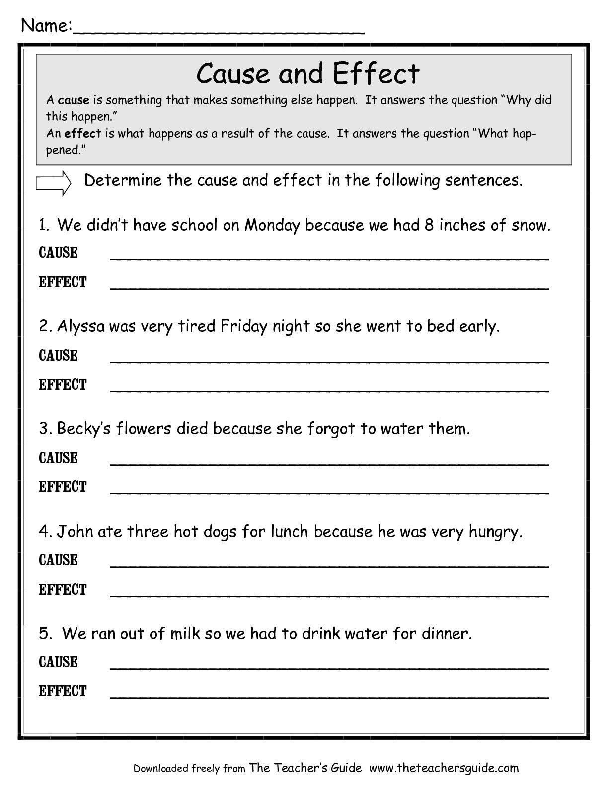 Topic Sentences Worksheets 3rd Grade Cause and Effect Worksheet Google Search