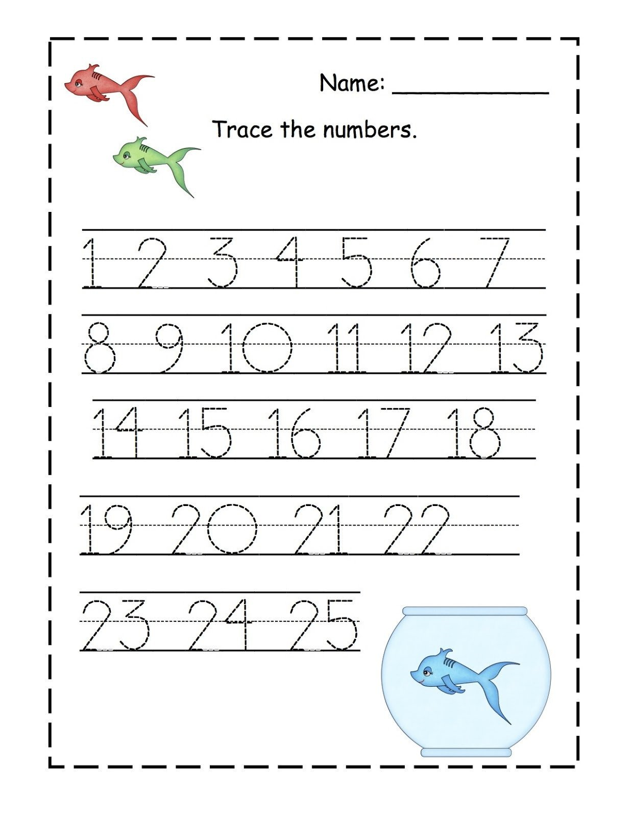 Tracing Number Worksheets 1 20 Trace Number 1 20 Worksheets
