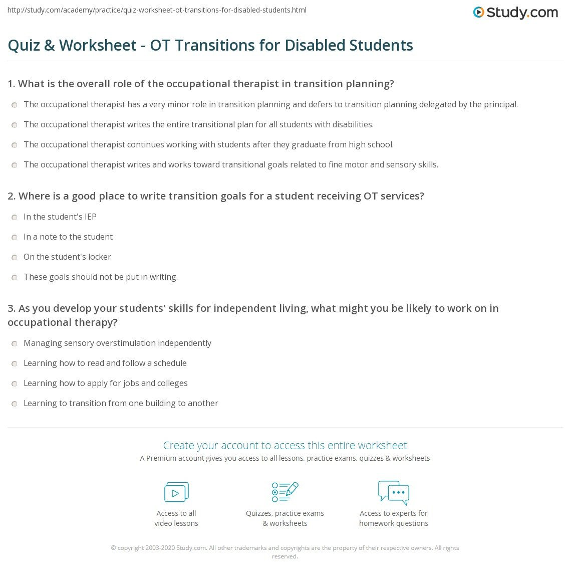 Transition Skills Worksheets Quiz & Worksheet Ot Transitions for Disabled Students