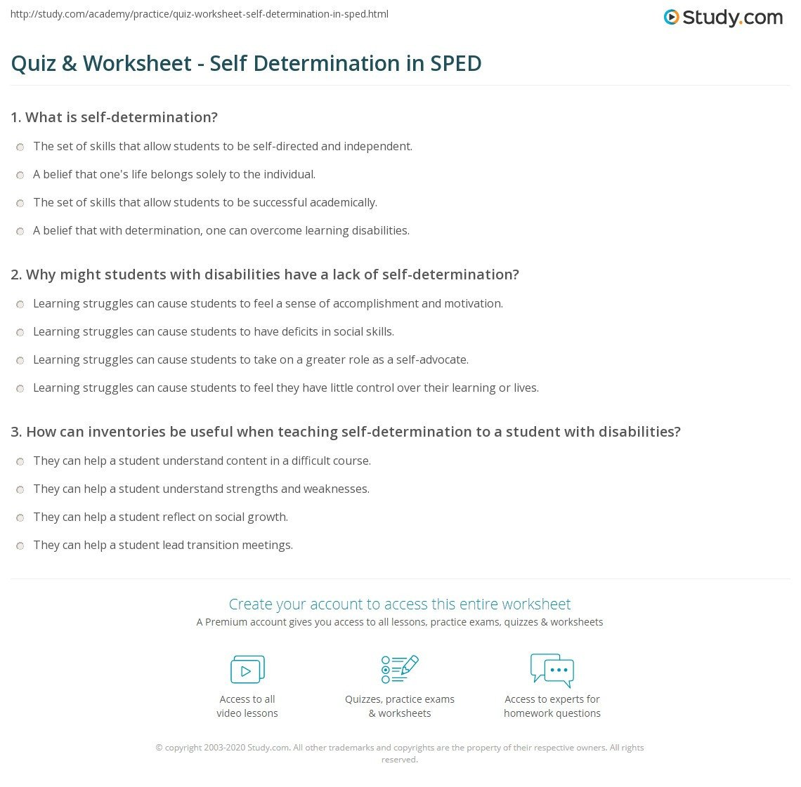 Transition Skills Worksheets Quiz & Worksheet Self Determination In Sped