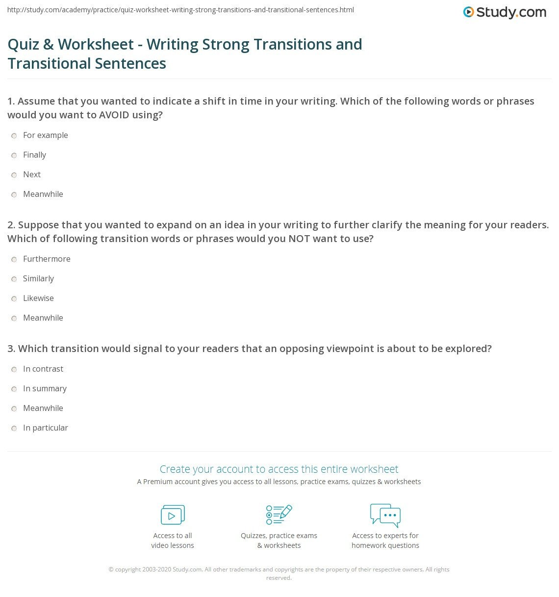 Transition Skills Worksheets Quiz & Worksheet Writing Strong Transitions and
