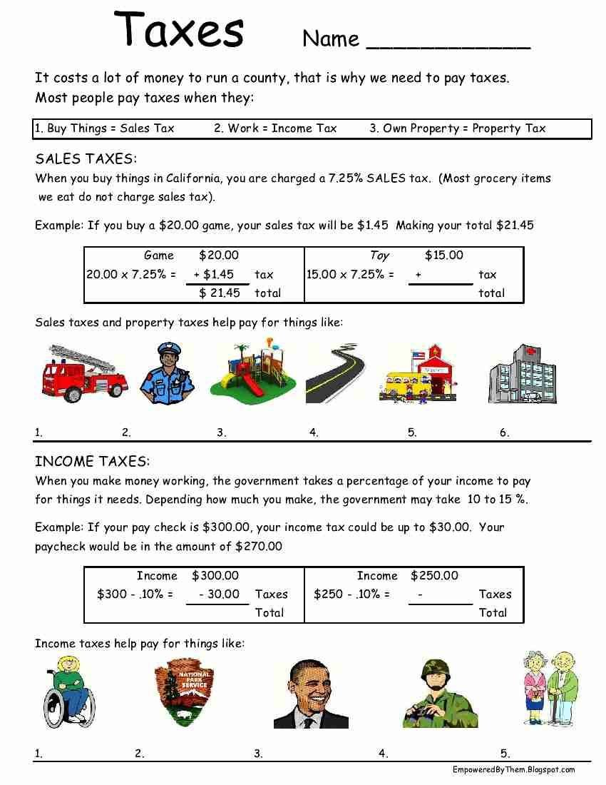 taxes worksheet idea