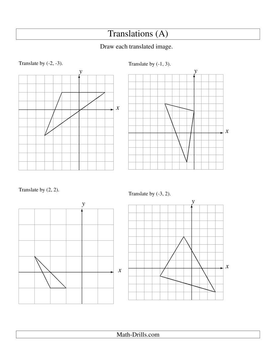 Translation Math Worksheets Translation Of 3 Vertices Up to 3 Units A
