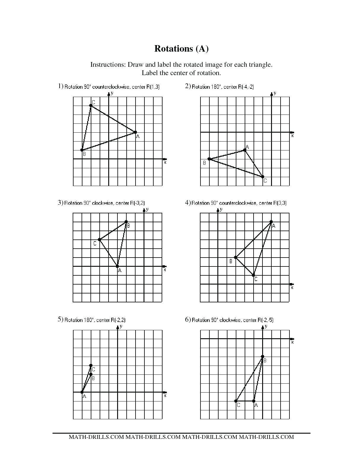 Translation Math Worksheets Translation Rotation Worksheets