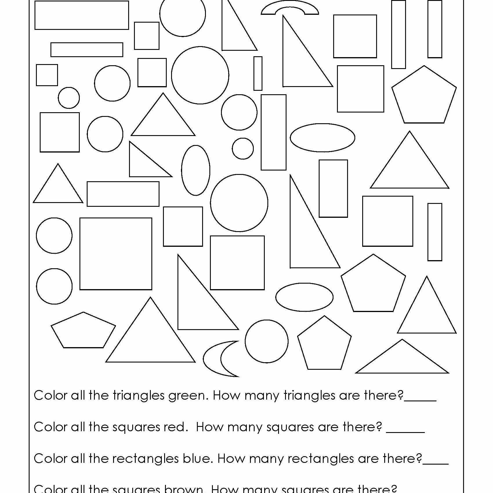 Two Dimensional Shapes Worksheet Geometry Worksheets for Students In 1st Grade