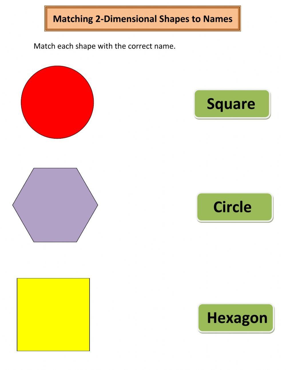Two Dimensional Shapes Worksheet Matching 2 Dimensional Shapes to Names Interactive Worksheet