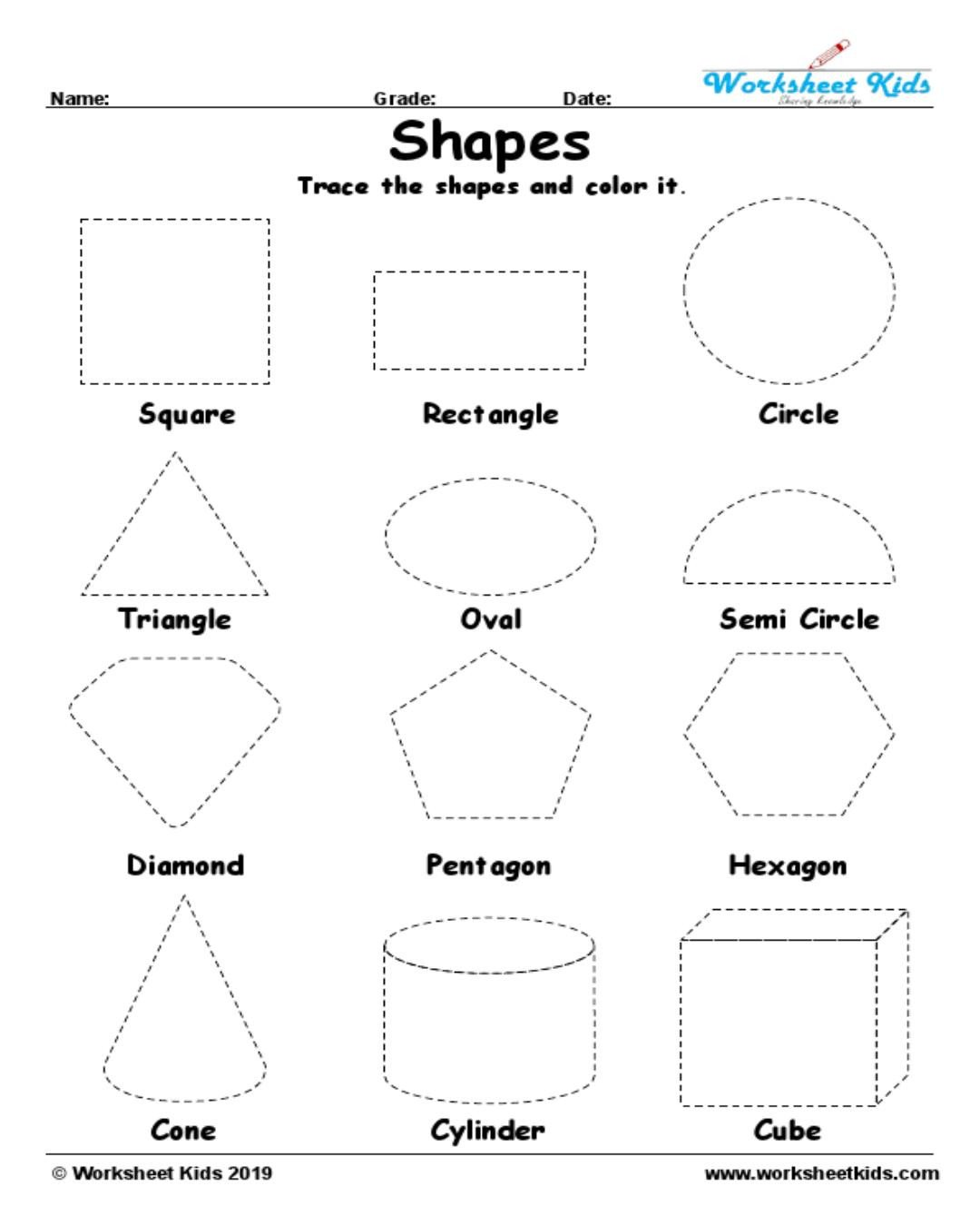 Two Dimensional Shapes Worksheet Tracing Shapes Worksheet In Geometry Worksheets Kids