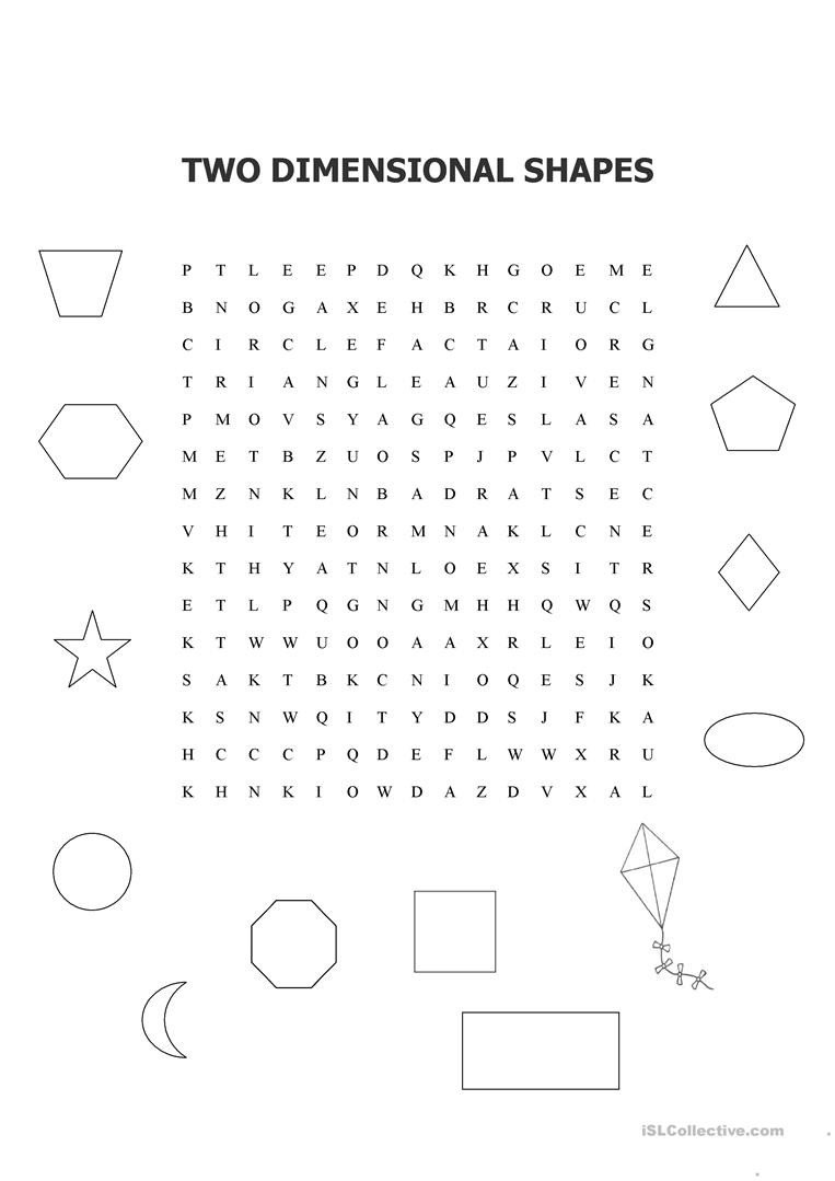 Two Dimensional Shapes Worksheet Two Dimensional Shapes Word Search English Esl Worksheets
