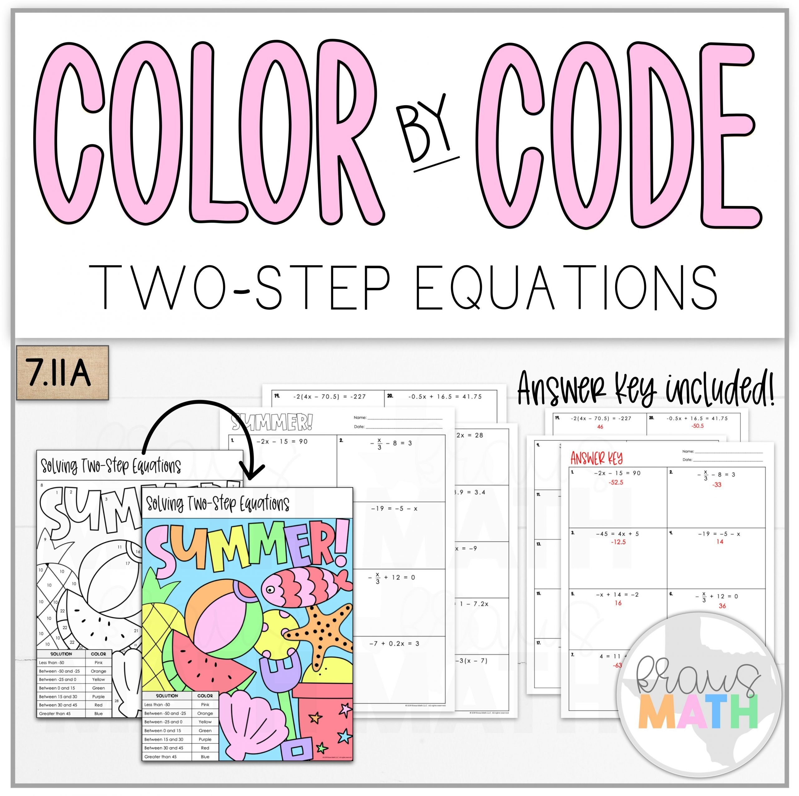 Two Step Equations Coloring Worksheet Color by Number Summer solving Two Step Equations Teks 7 11a