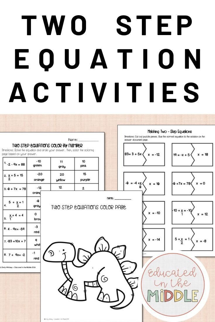 Two Step Equations Coloring Worksheet Pin On 7th Grade Expressions & Equations