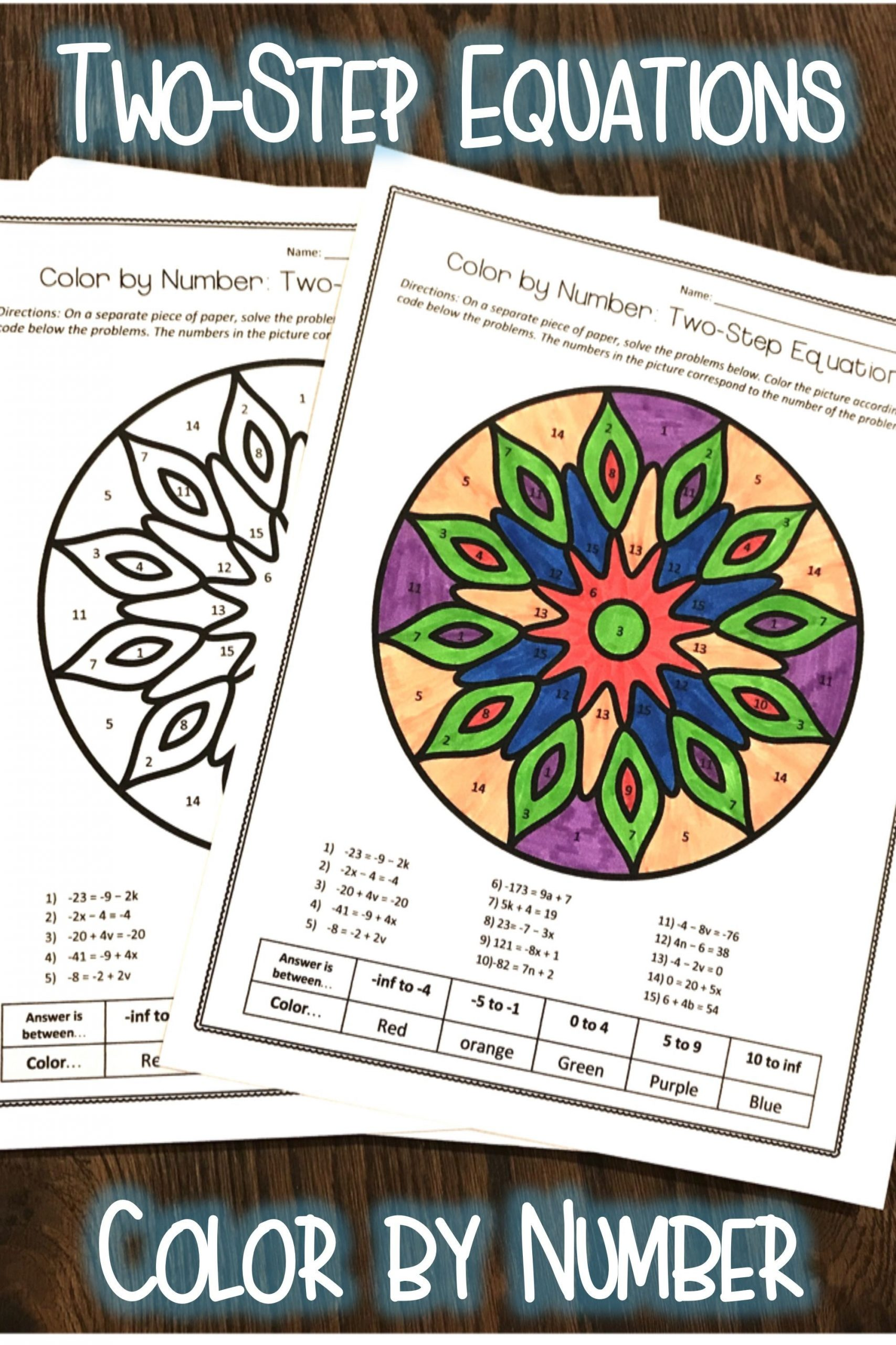 Two Step Equations Coloring Worksheet Two Step Equations Algebra Color by Number