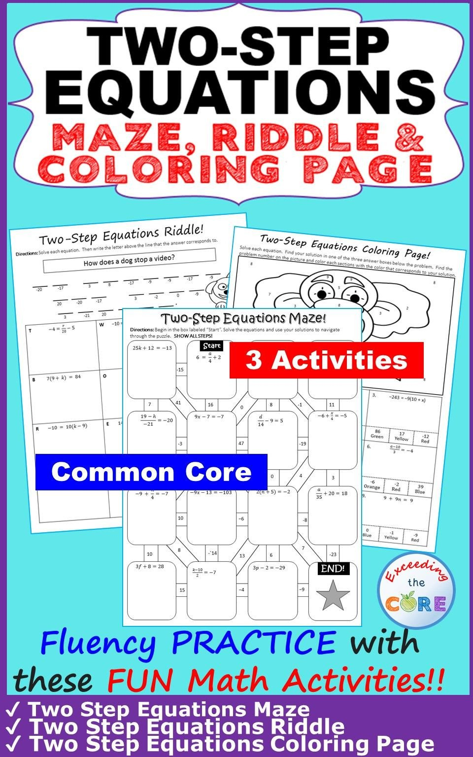 Two Step Equations Coloring Worksheet Two Step Equations Maze Riddle & Coloring Page Fun Math