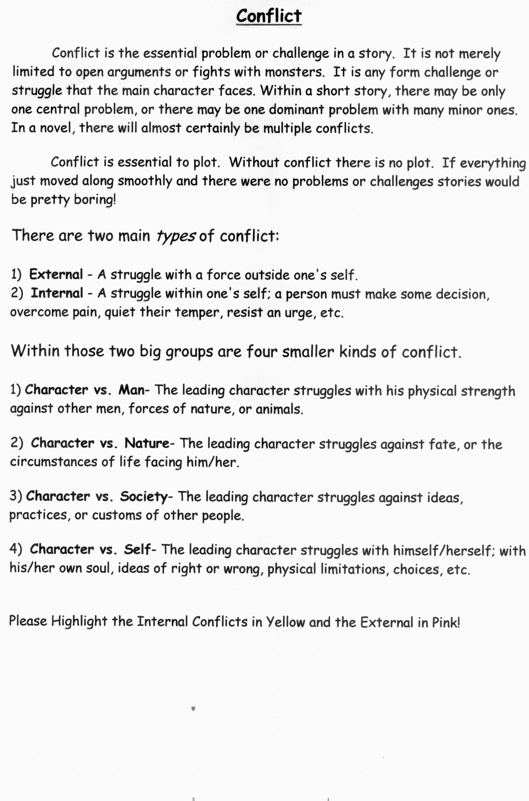 Types Of Conflict Worksheet 6th Grade Lessons Middle School Language Arts Help