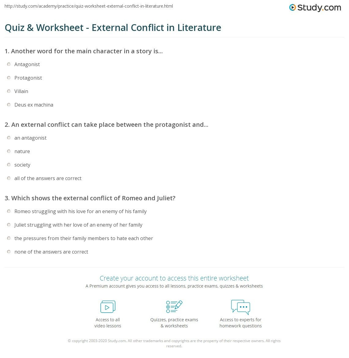 quiz worksheet external conflict in literature
