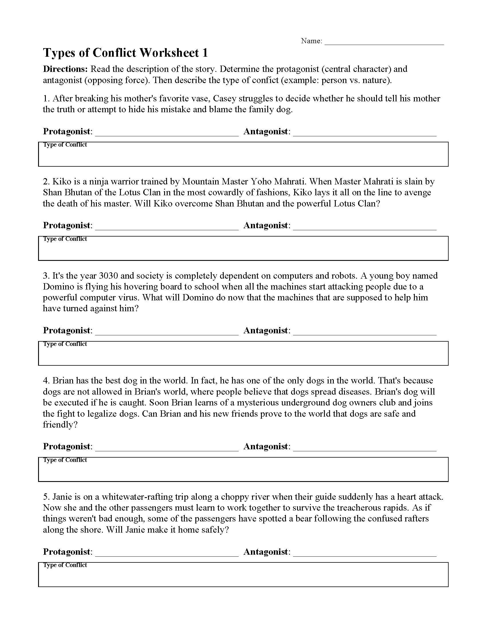 types of conflict worksheet 01 01