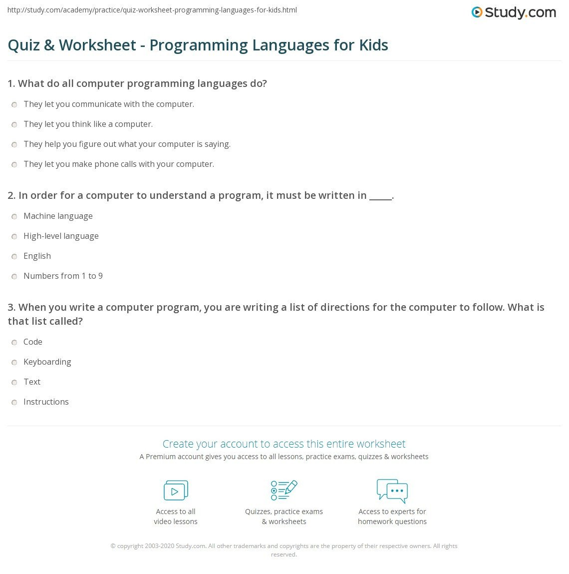 quiz worksheet programming languages for kids