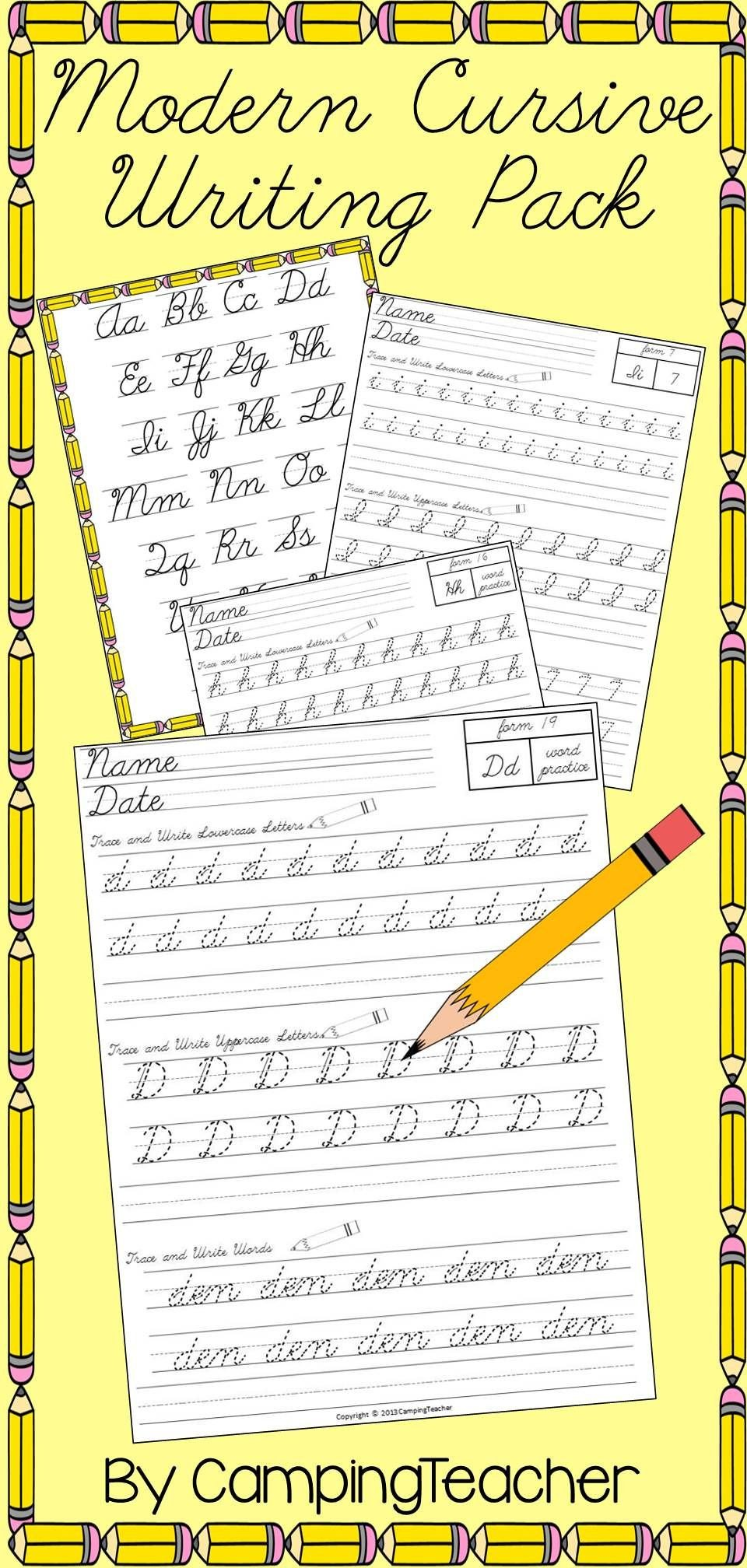 cursive writing practice picture ideas modern pack handwriting dnealian worksheet typing