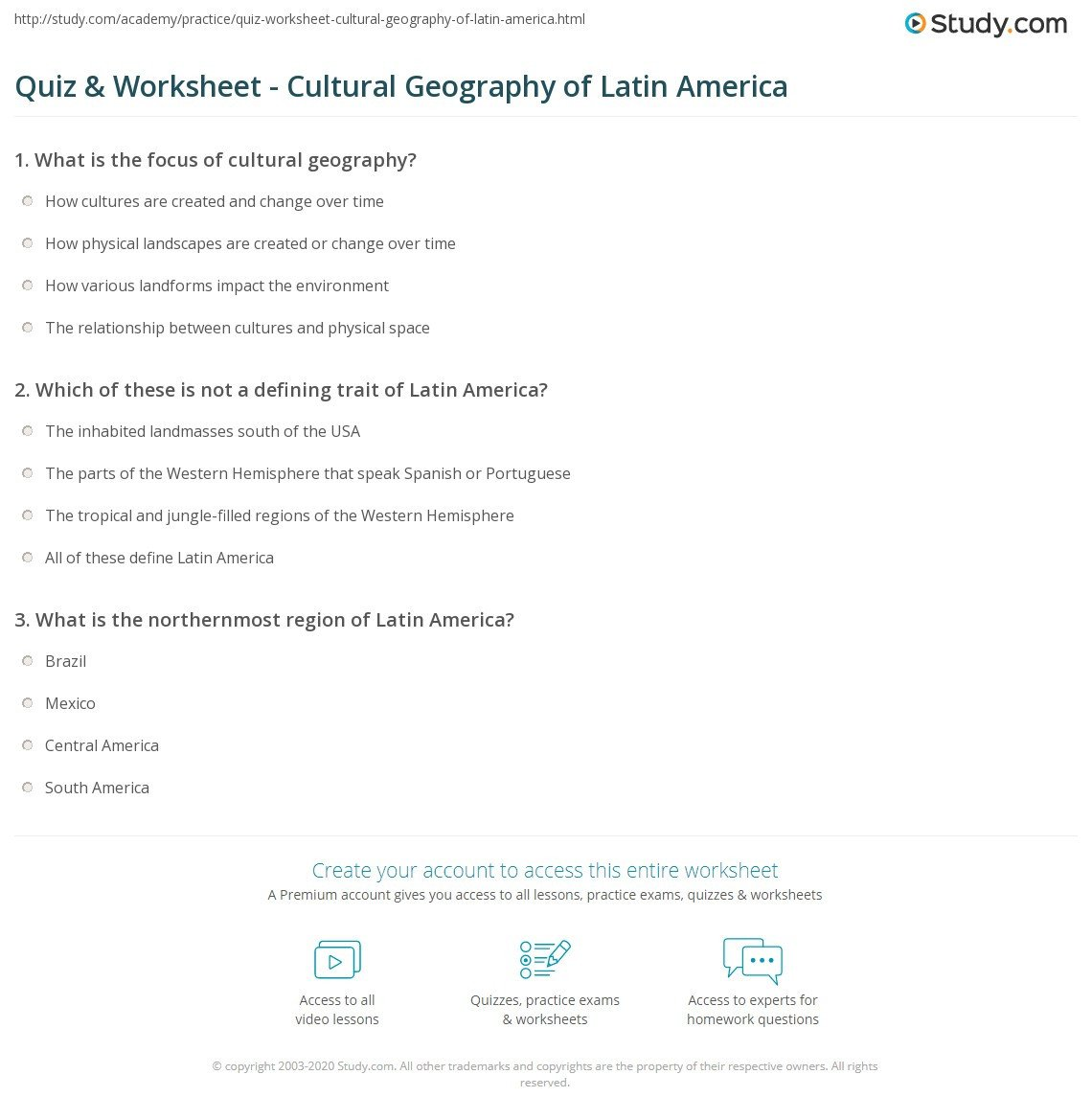 quiz worksheet cultural geography of latin america study