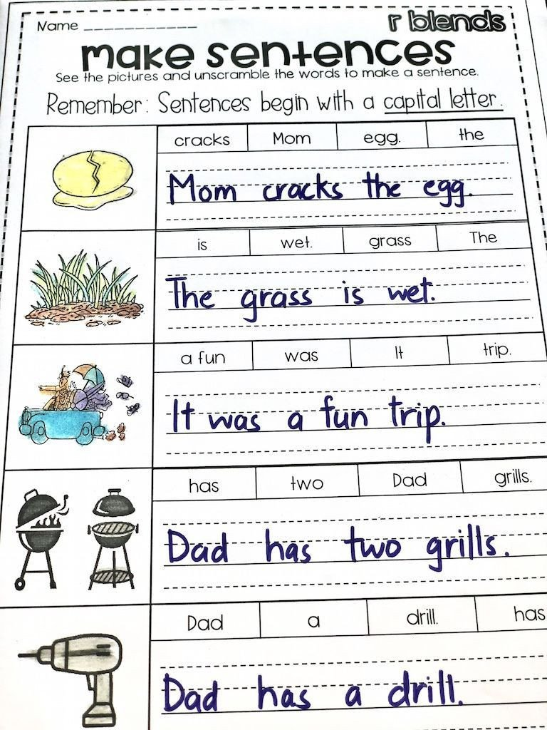 Unscramble Sentences Worksheets 1st Grade Free Build the R Blend Sentences