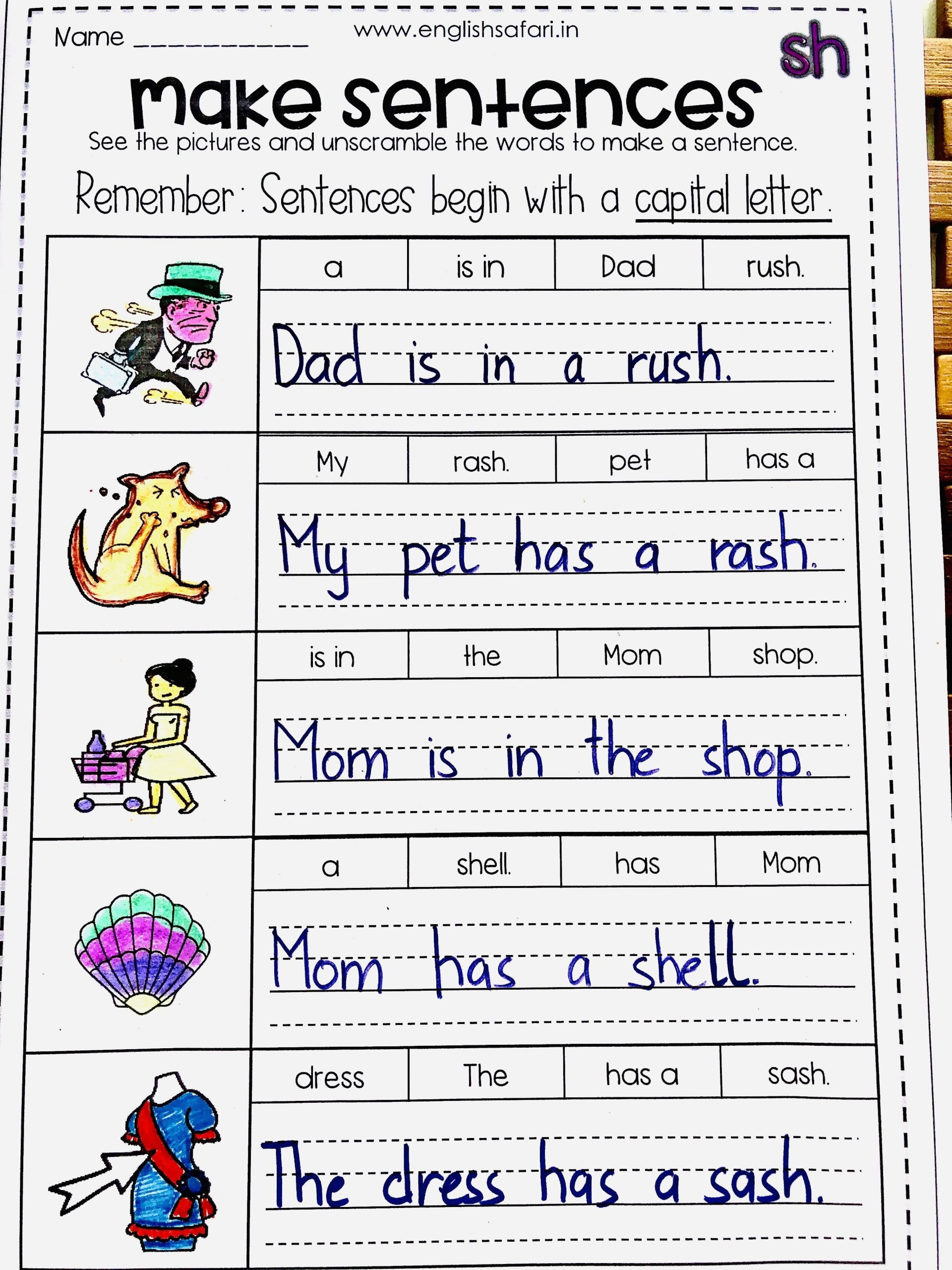 Unscramble Sentences Worksheets 1st Grade Free Make Digraph Sh Sentences