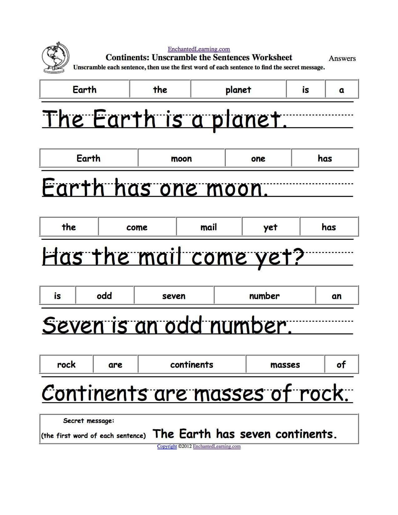 Unscramble Sentences Worksheets 1st Grade Free Unscramble Sentences Worksheets