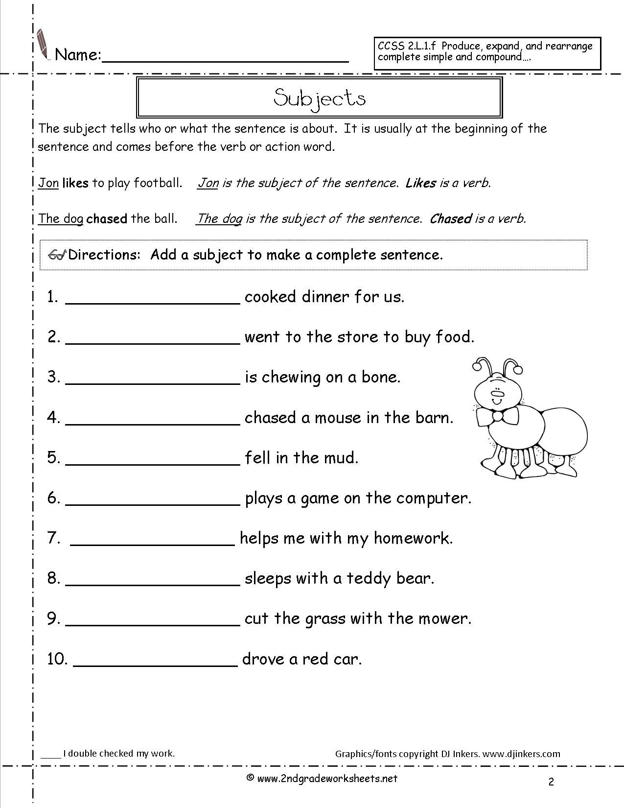 subjectworksheet2 incredible writing sentences worksheets for 1st grade printable first free reading prehension