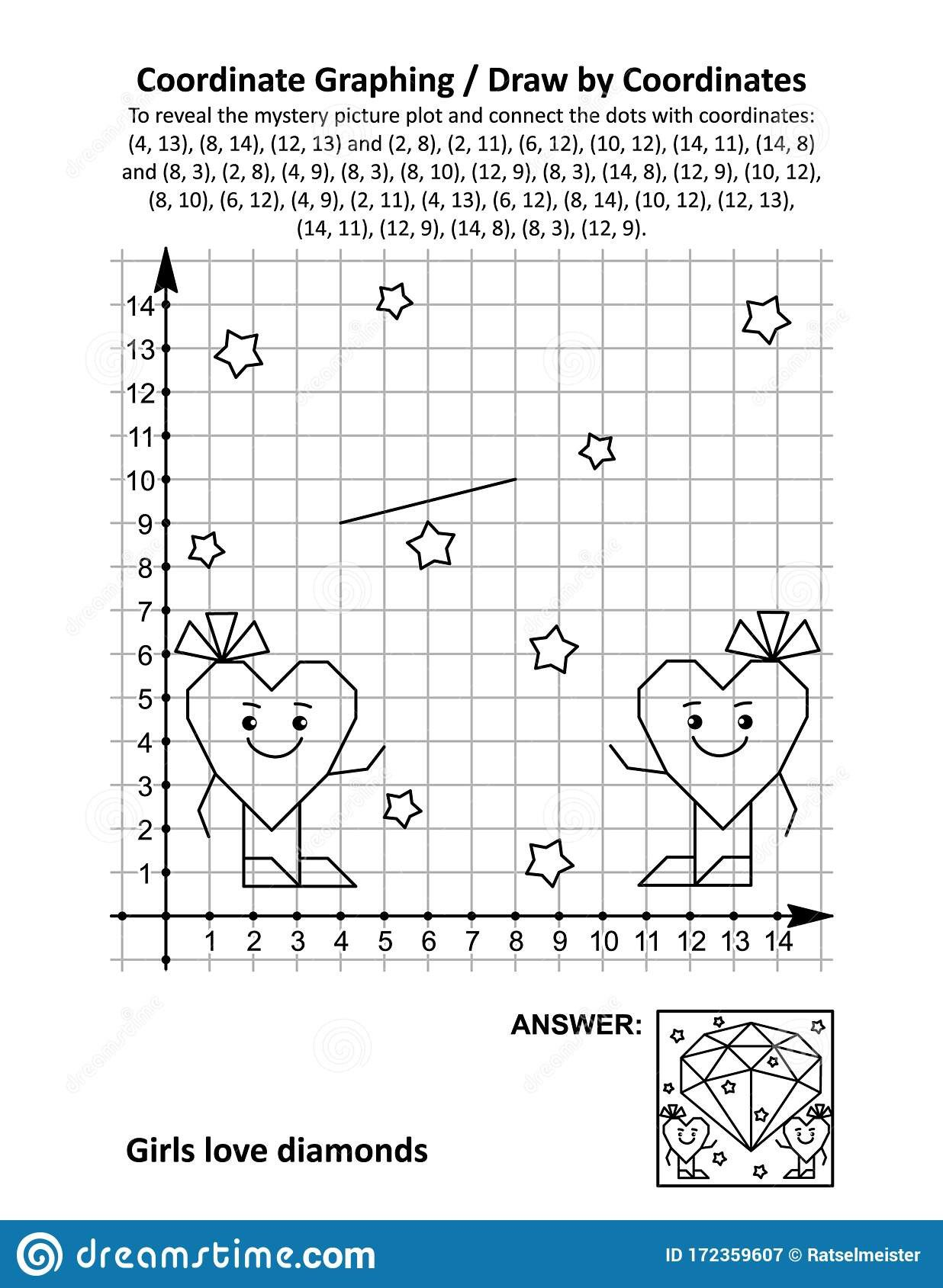 coordinate graphing draw coordinates math worksheet valentine s day mystery picture st girls love diamonds to reveal