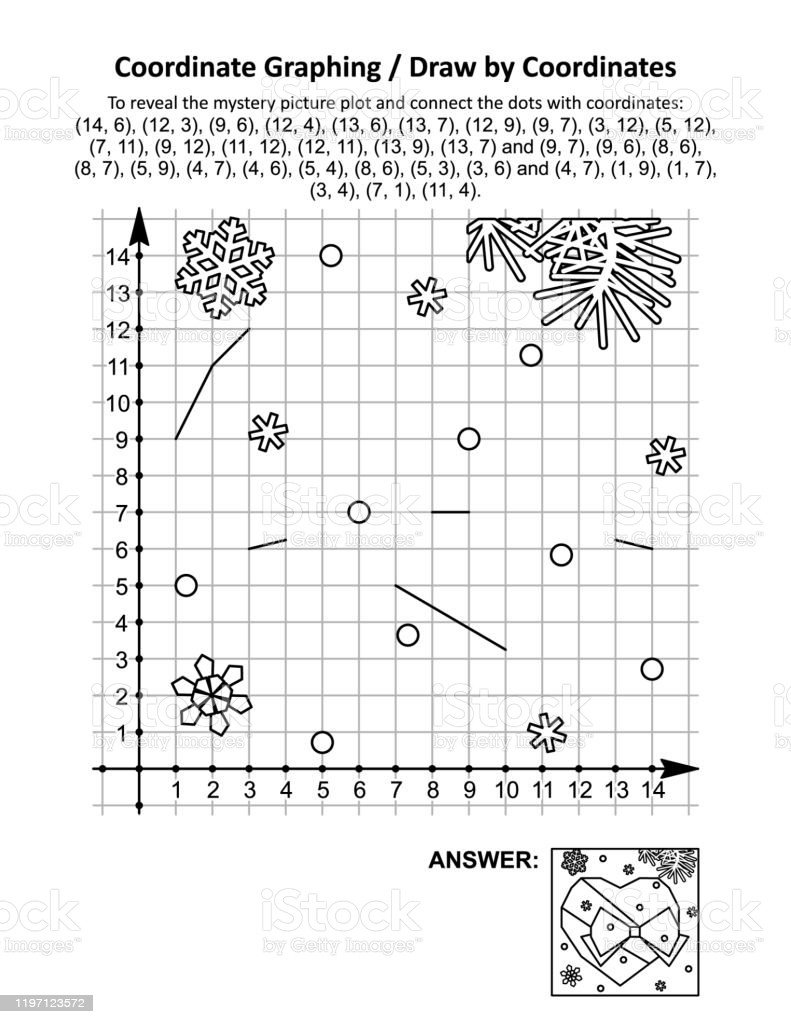 Valentine Day Coordinate Graphing Worksheets Coordinate Graphing Draw by Coordinates Math Worksheet with Valentines Day Heart and Bow Stock Illustration Download Image now
