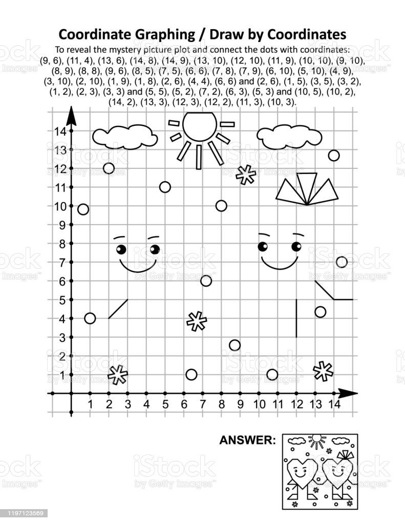 Valentine Day Coordinate Graphing Worksheets Coordinate Graphing Draw by Coordinates Math Worksheet with Valentines Day Two Friendly Hearts Stock Illustration Download Image now