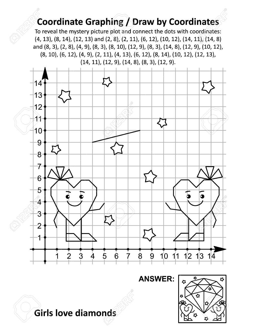 photo stock vector coordinate graphing or draw by coordinates math worksheet with st valentine s day mystery picture gi
