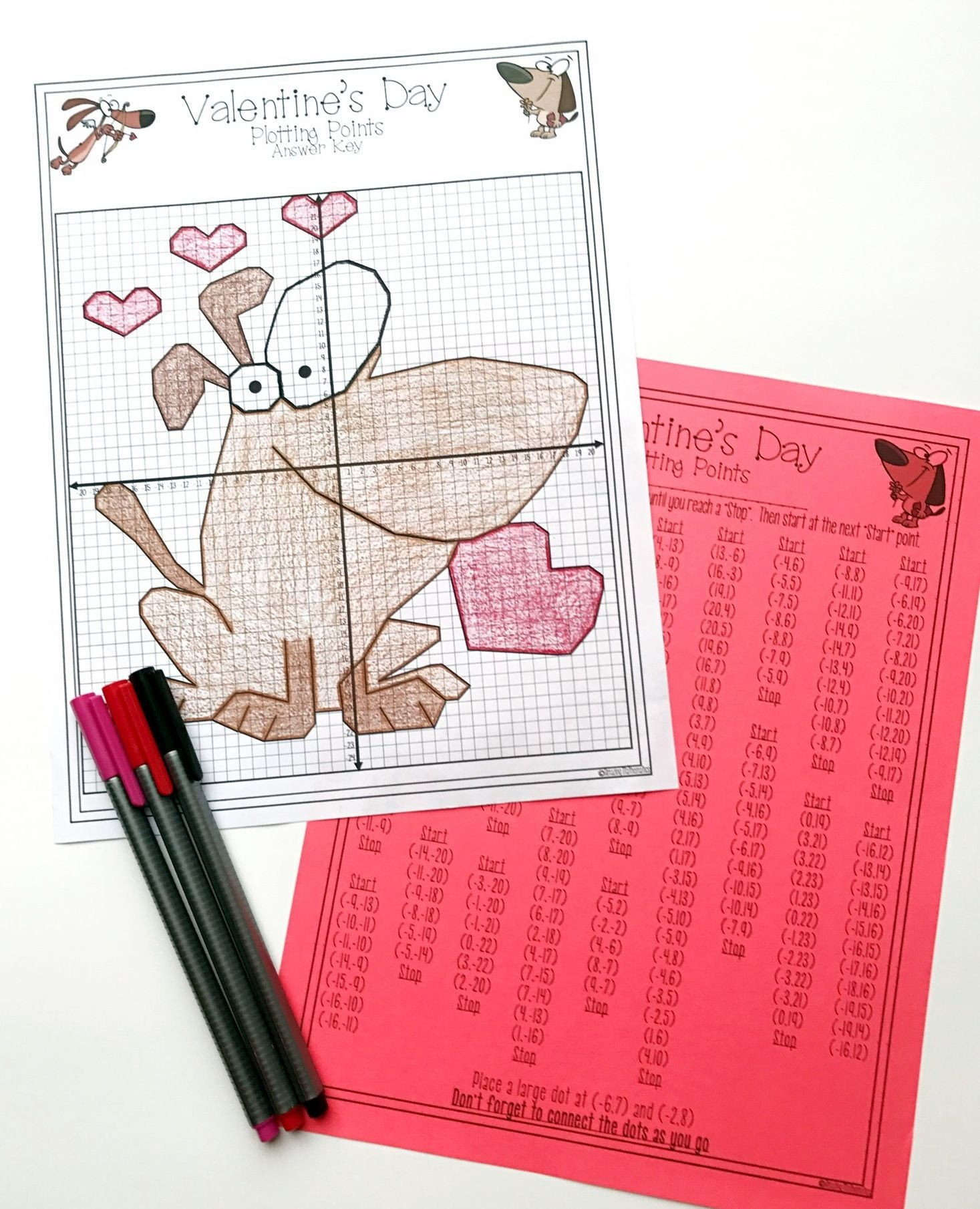 Valentine Day Coordinate Graphing Worksheets Valentine S Day Math Activity Plotting Points Mystery