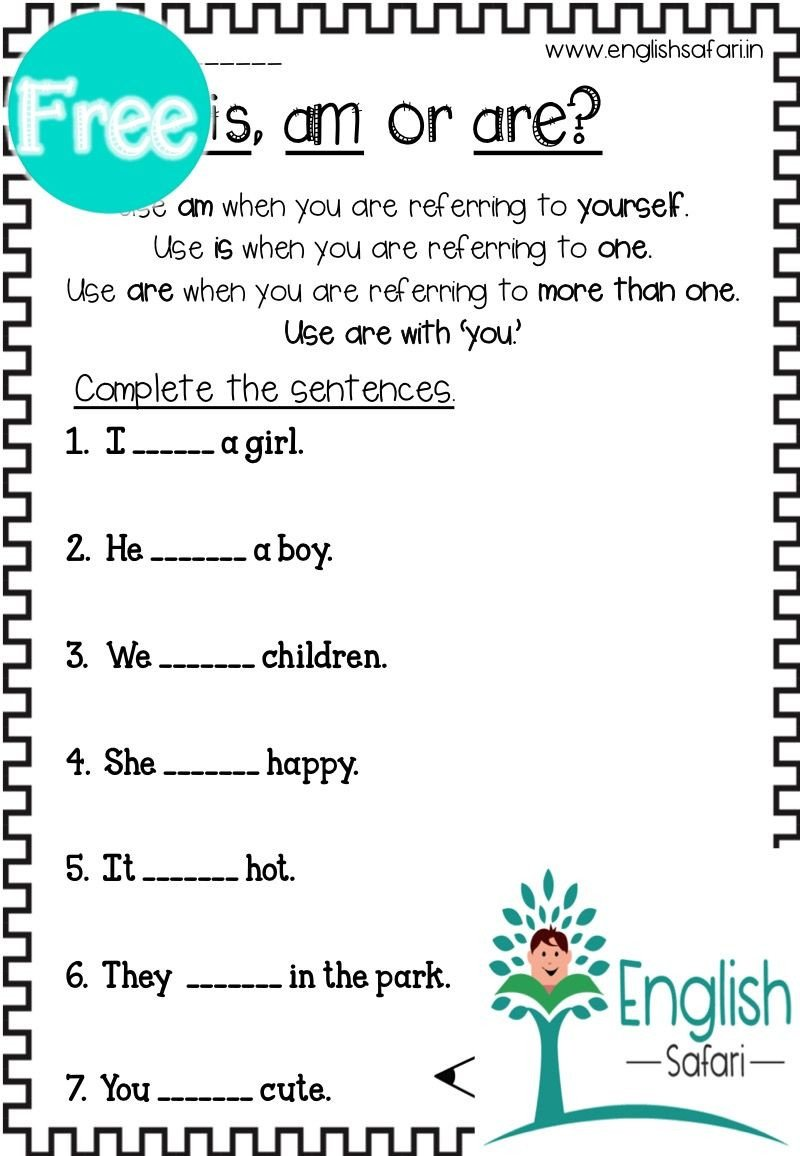 Verbs Worksheet First Grade Free is Am are Worksheet In 2020