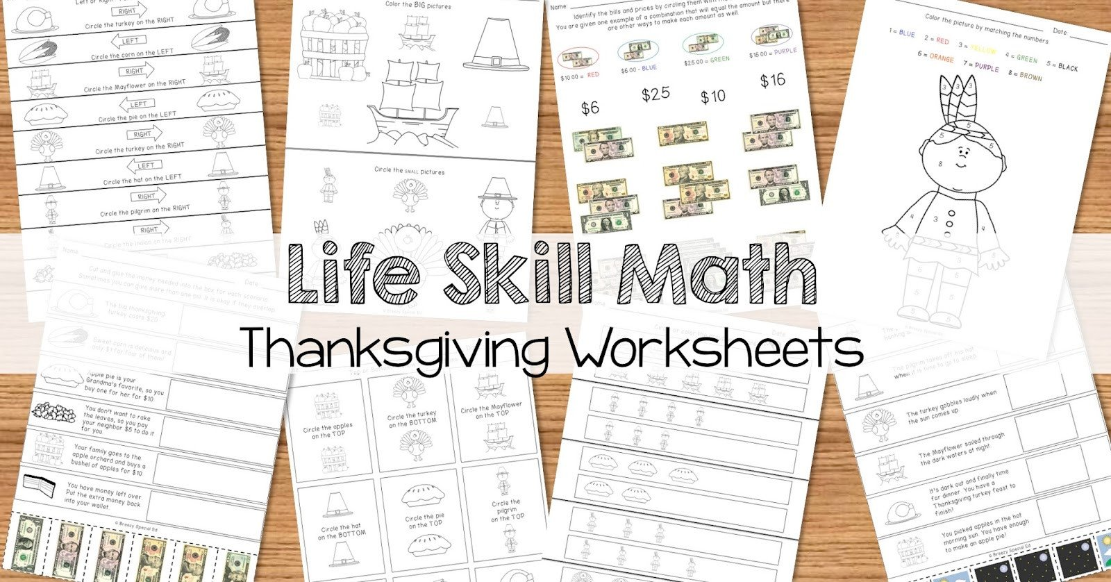 Vocational Skills Worksheets Math Life Skill Worksheets Thanksgiving themed Breezy