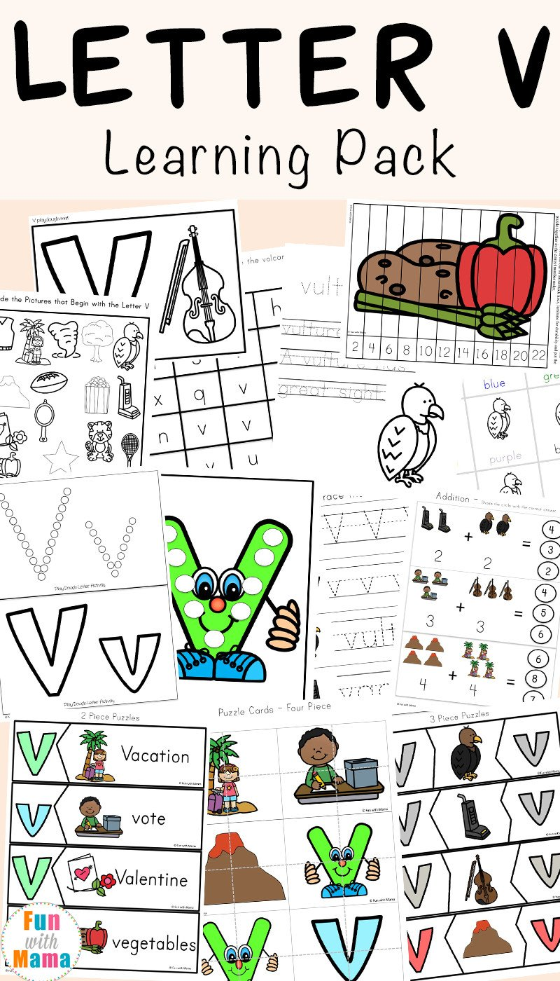 Volcano Worksheets for Kindergarten Letter V Worksheets for Preschool Kindergarten Fun with Mama