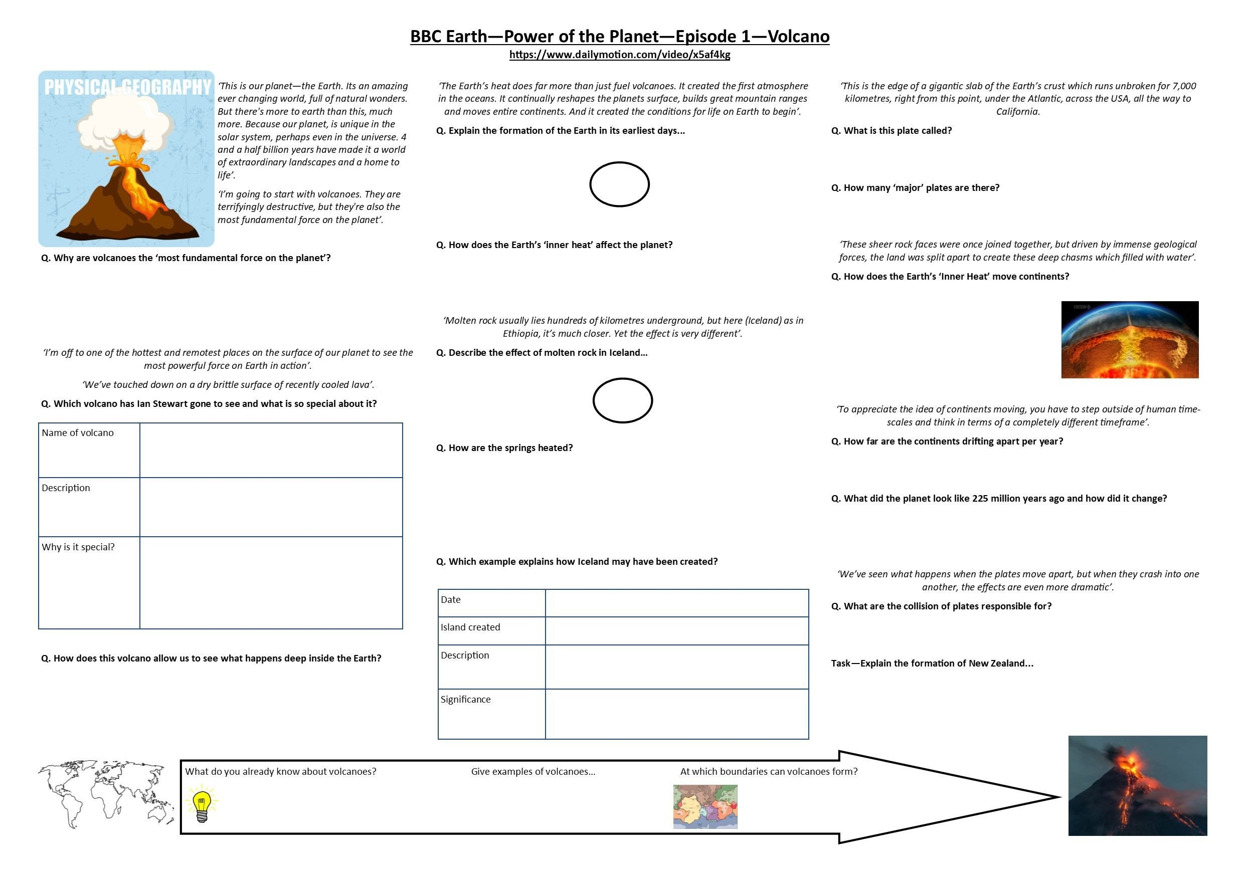 Volcano Worksheets High School Bbc Earth Power Of the Planet Volcano