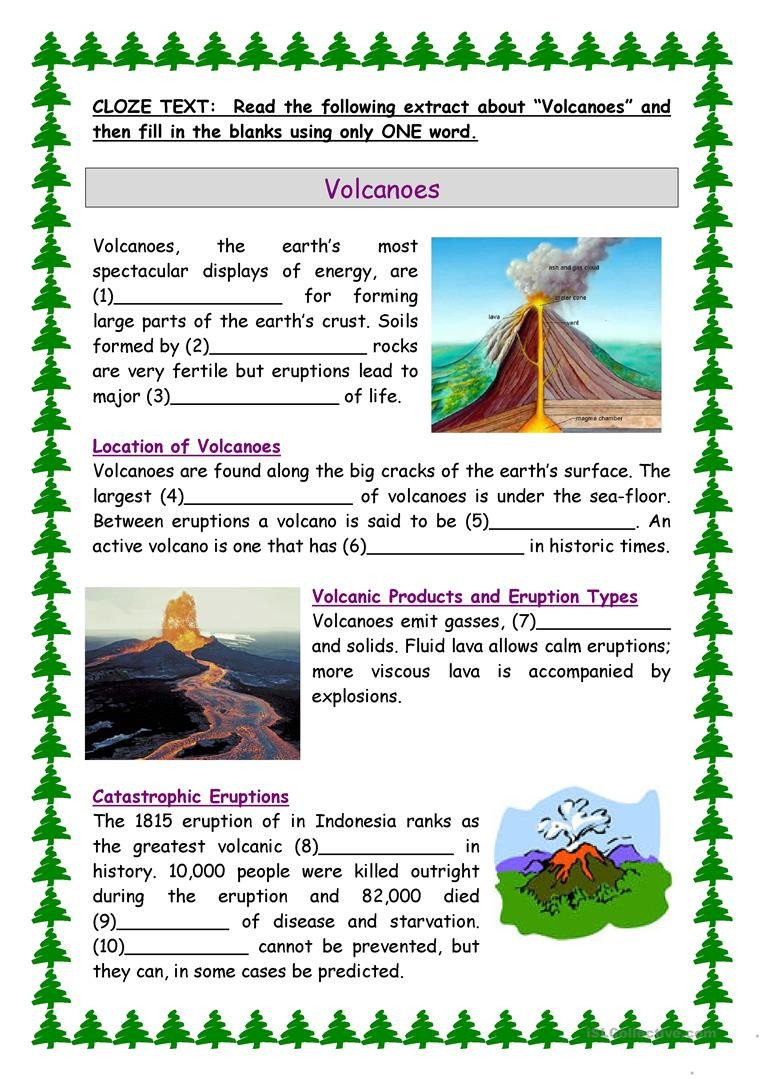 Volcano Worksheets High School English Esl Volcano Worksheets Most Ed 15 Results