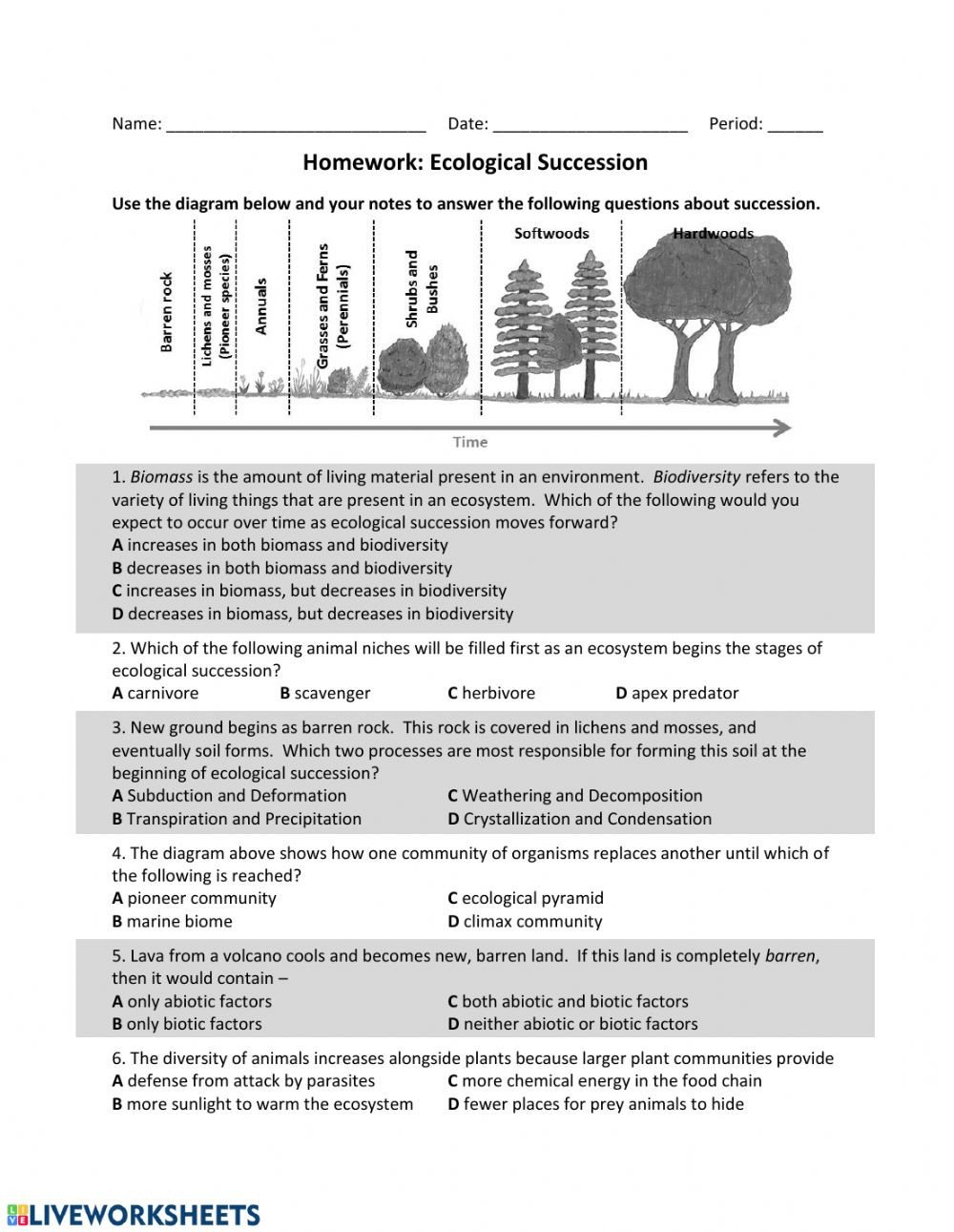 Volcano Worksheets High School Es Ecological Succession Hw Interactive Worksheet