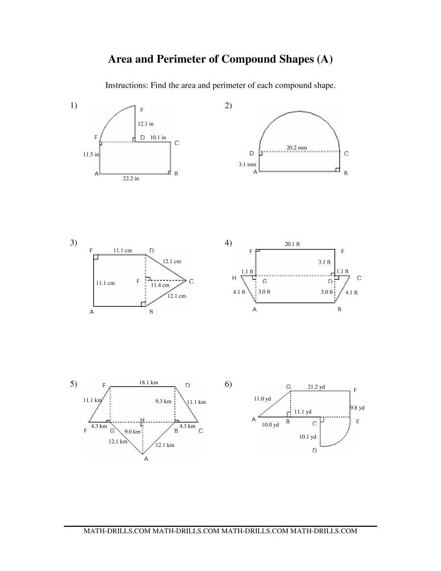 Volume Of Irregular Shapes Worksheet area and Perimeter Of Pound Shapes A
