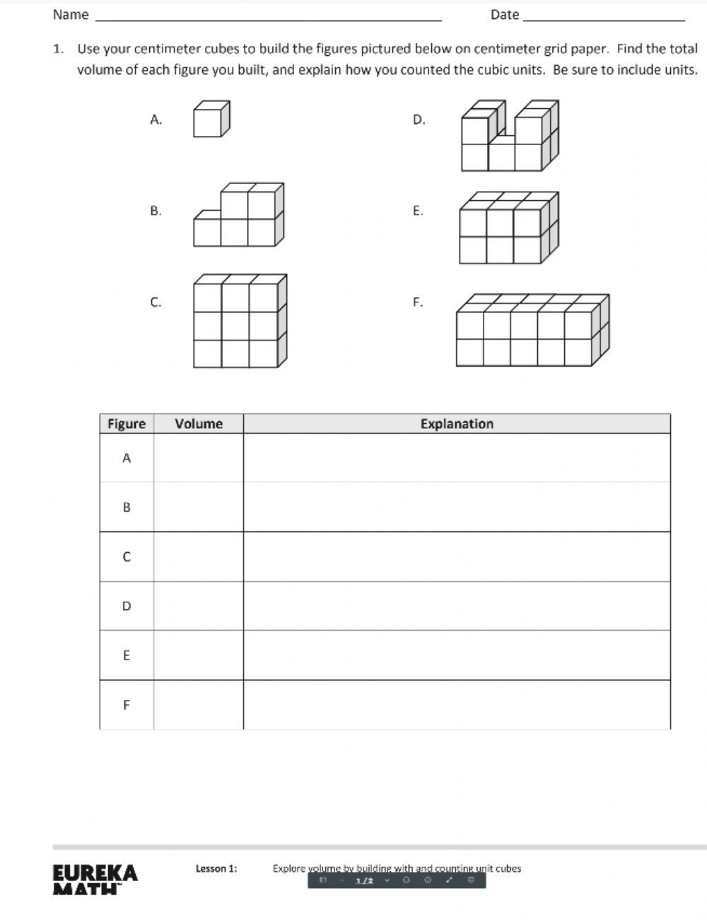 Volume Of Irregular Shapes Worksheet Module 5 Lesson 1 Interactive Worksheet