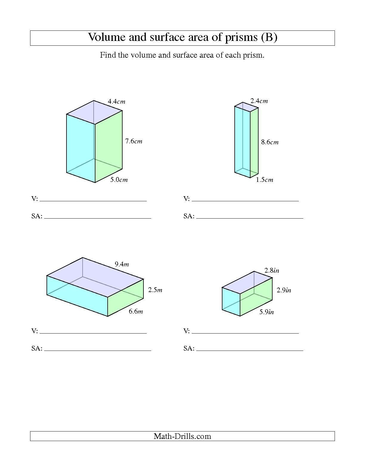Volume Of Irregular Shapes Worksheet the Volume and Surface area Of Rectangular Prisms with