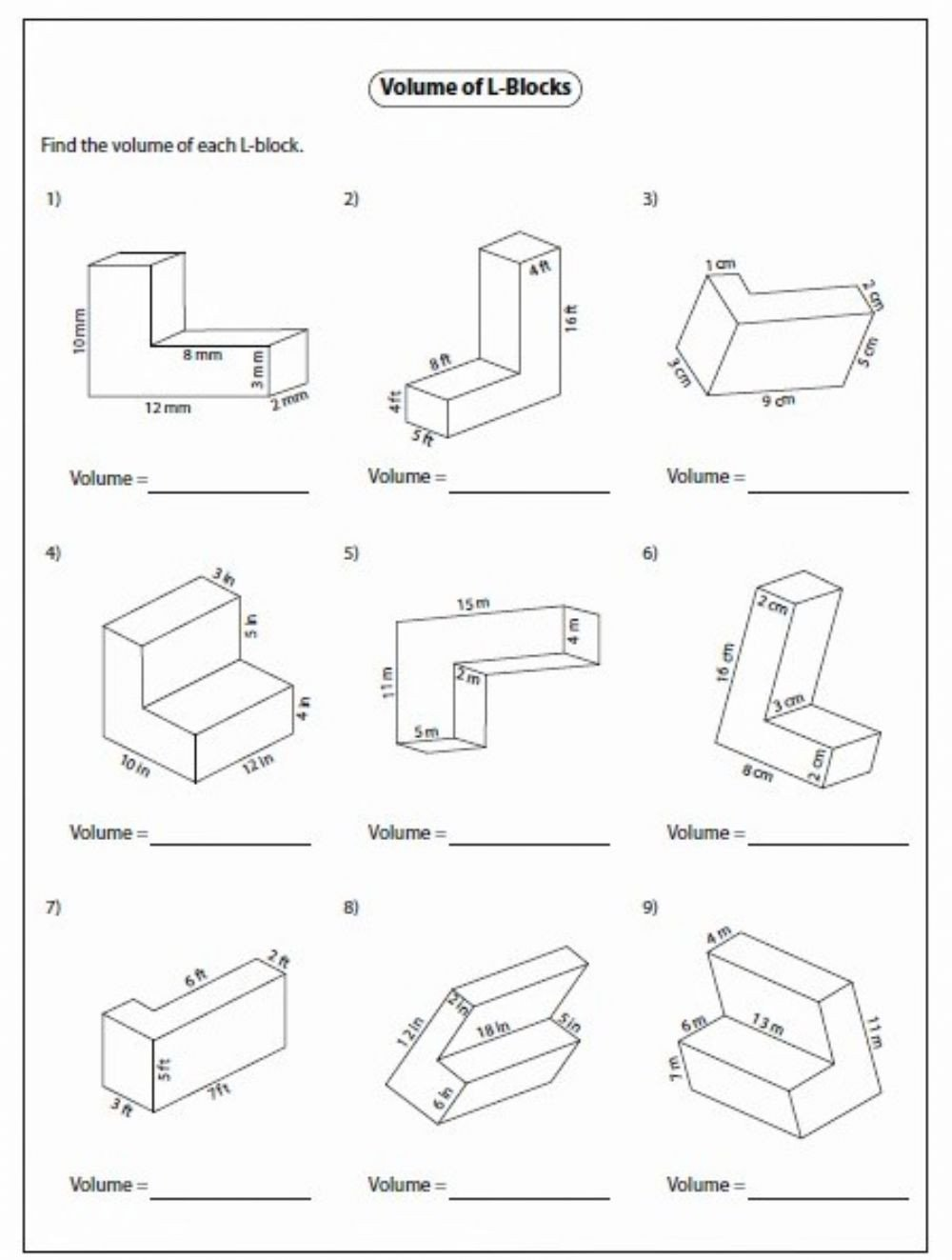 Volume Of Irregular Shapes Worksheet Volume Interactive Worksheet