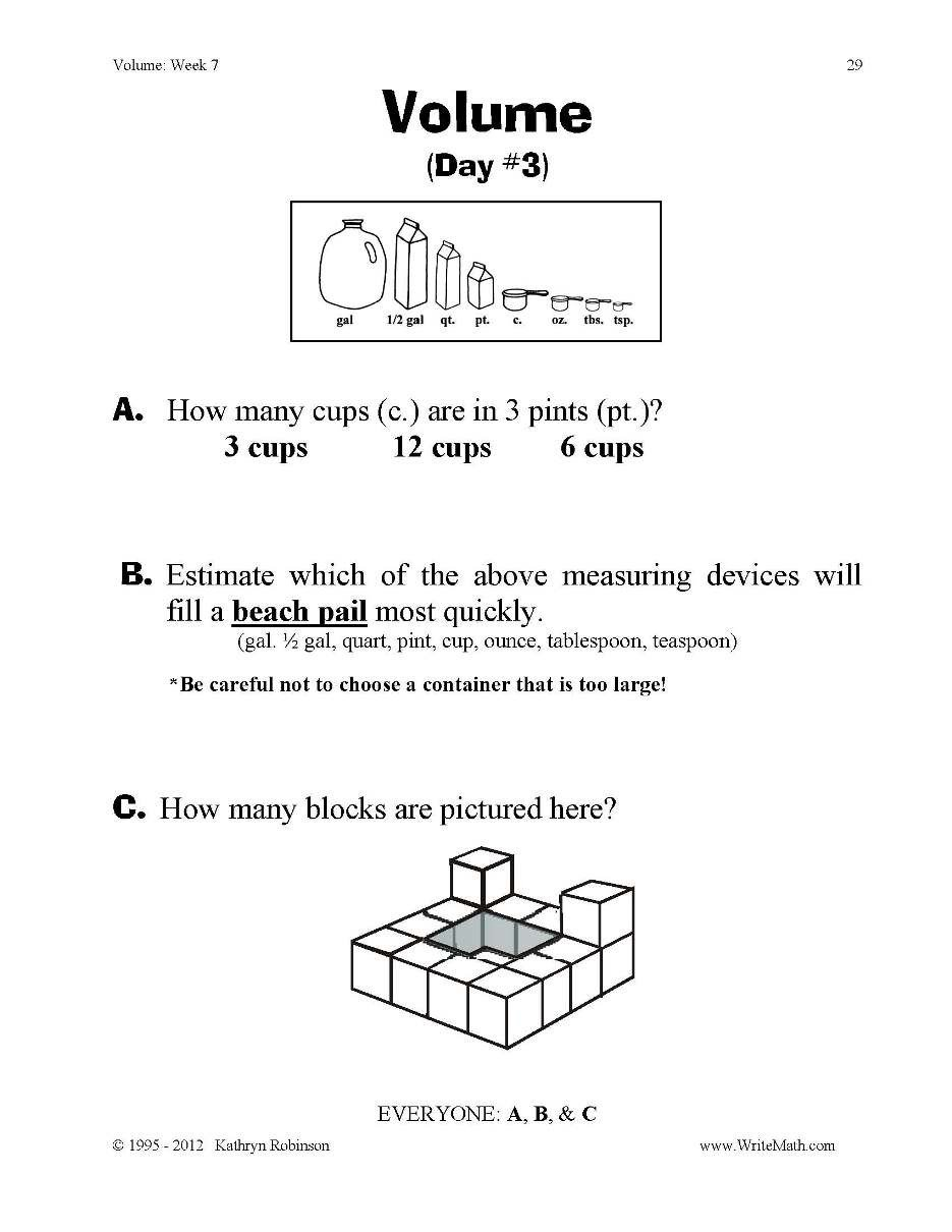 Volume Worksheets 3rd Grade Just Turn & Volume 3rd 4th 5th Grade Digital