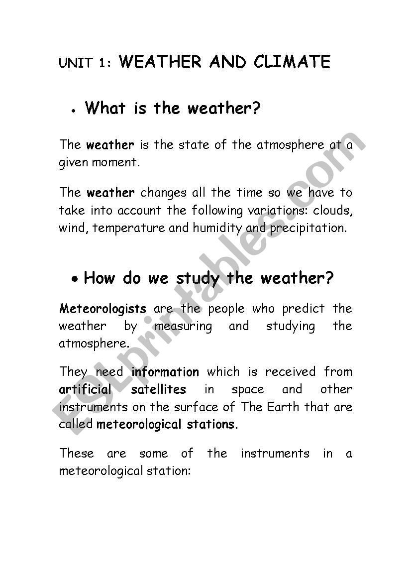 Weather and Climate Worksheets Climate and Weather Esl Worksheet by Rasaga