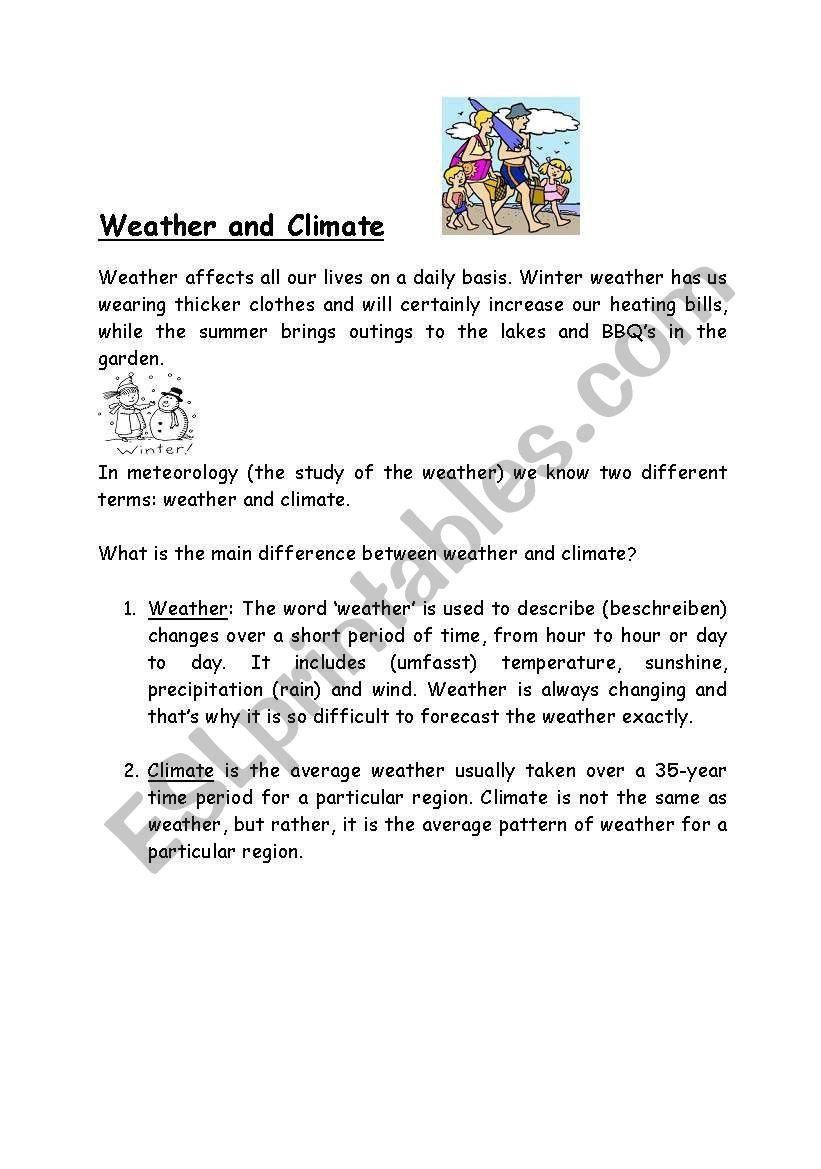 Weather and Climate Worksheets Weather and Climate Esl Worksheet by Jaya Nar
